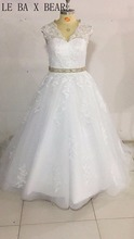 LE BA X BEAR Ball Gown lace up wedding dress with long train top appliques off the shoulder gown dress(China)