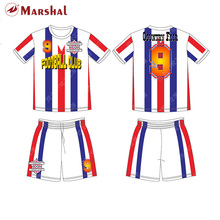 mix color trips soccer uniform,do your own design soccer sets sublimation football clothing