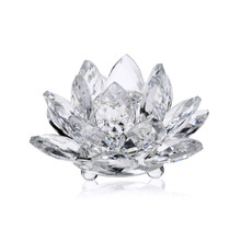 85mm Quartz Crystal Lotus Flower Crafts Glass Paperweight Fengshui Ornaments Figurines Home Wedding Party Decor Gifts Souvenir(China)