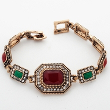 Yunkingdom Exaggerate Bracelets Ancient Gold Color Vintage Bracelets Resin Classic Jewelry Wholesale YUN0689
