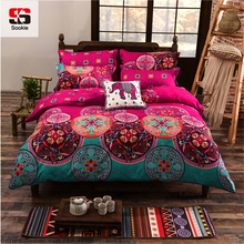 Sookie Full/Queen/King Size Bedding Sets Bohemian Style Reversible 4pcs Duvet Cover Sets Pillowcases Boho Comforter Covers 3pcs(China)