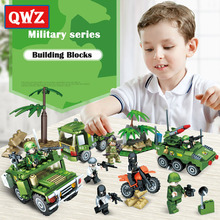 QWZ New Military Series Tank Missiles Jeep Car Army Gun Model Building Blocks Set Assembled Bricks Educational Kids Toys Gifts