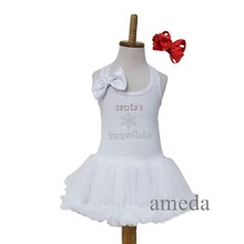 Xmas Baby Rhinestone White Petti Pettiskirt Dress 1-4Y