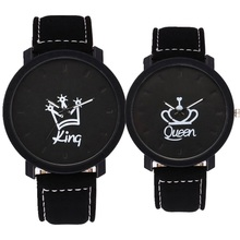 Fashion lovers couple king queen leather watch unisex mens women ladies crown casual students gift quartz wrist watches(China)