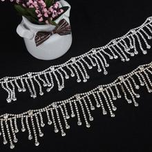 1 Yard 5.4 CM Silver Tassel Crystal Rhinestones Chain Trims for Clothes Collar Necklace Bags Hats Trims Wedding Dress Appliques