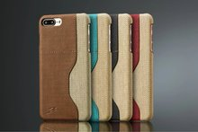 Dual Colors Jean Canva Leather case for iphone 7 Case with Card Slot Back Cover for iphone7 Plus Top Reviews Brand Coque(China)