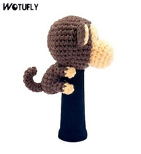 WOTUFLY Lovely Monkey Golf Driver Headcover Outdoor Sport Pure Hand Knitting Animal Golf Fairway Hybrid Head Cover No Machine