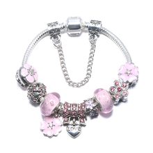3 Colors Plated Silver Heart Love Charm Bracelet Silver with Safety Chain & Pink Original Bracelet Authentic Jewelry BL038