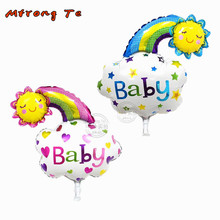 10pcs Baby boy girl Smile Face Rainbow emoji Foil Balloons Happy Birthday Globos balls baby shower 1th birthday party supplies(China)