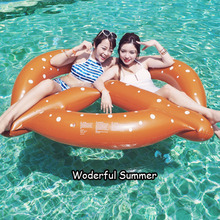 Inflatable Pretzel Pool Float Donut Bread Swimming Ring For Adult 2016 Summer Water Play Toys Three Seats Snorkel Air Mattresses(China)