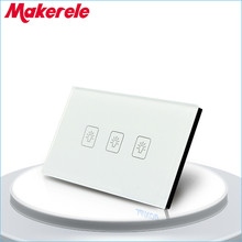 Touch Switch White Crystal Glass panel US Standard 3 Gang 2 Way Touch Screen wall switch wall socket for lamp(China)