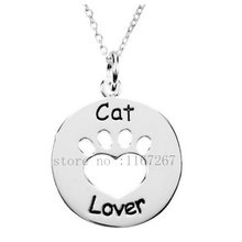 "2015 New style ""Cat lover"" Necklace  Paw Print Tag Heart silver pendant necklace Wholesale Jewelry"