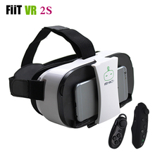 FiiT VR 2S Virtual Reality Glasses Headset 3D VR Google Movie Game Helmet Box for 4.0-6.5 inch Mobile Phone+Remote Control(China)
