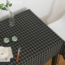 DUNXDECO Tablecloth Linen Cotton Table Fabric Cover Modern Fashion Black Check Home Party Decoration Ground