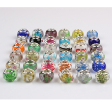 Random Delivery 5PCS Different Models Flower Murano Glass Bead Fit Pandora Bracelet Bangles Charms Original European DIY Jewelry(China)