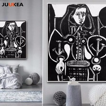 Artist P. P. Femme au fauteuil Canvas Print Painting Classical Black White Portrait Art Home Decor Wall Pictures For Living Room(China)