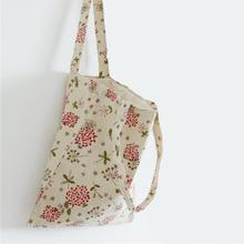 Brand Design Women Shopping Bag Tote cotton fabric One Shoulder Handbags Lady Girl Casul Large CapacityTop Handle flower bag(China)