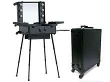 2014 Fashionable Aluminum makeup studio with lights, mirror, trolley, stands, rolling cosmetic case with lights and 4 legs