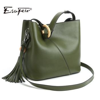 2017 esufeir marca de design de moda 100% couro genuíno das mulheres bolsa sólida bolsa de borla balde bolsa feminina tote bag crossbody bag
