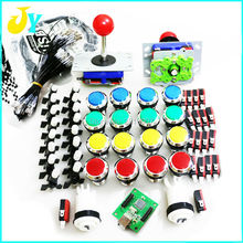 DIY Arcade cabinet Parts Bundles Kit Joystick CHROME Plated illuminated 12V Push button PC PS3 Arcade USB controller Jamma MAME