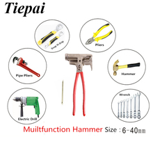 Tiepai Free Shipping Multifunctional Hammer Universal Hammer Multifunctional Pliers Wrench Product 10Functions in Hand Tools Set