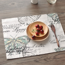 2016 Pastoral Style Linen Cotton Placemats Rectangular Placemat For Plates Coffee Cup Letter Butterfly Printed Place Mat