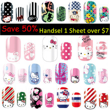 Wholesale 24pcs/lot 3D Design Tip Nail Art Hello Kitty Nail Stickers Decals Carving Nail Art Decoration XF311-XF334