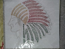 2pc/lot American Indian head  hot fix rhinestone transfer motifs iron on applique patches iron on transfer designs shirt coat