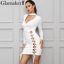 Buy Glamaker Lace sexy elegant choker dress women Bodycon deep v neck short dress Long sleeve slim summer hollow mini dress for $12.99 in AliExpress store