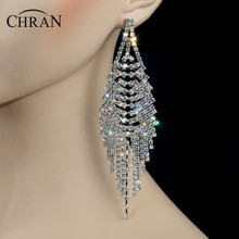 "Chran Sparkling Gold Color Crystal Evening Party Earings Wedding Bridal 4.75"" Long Dangle Chandelier Drop Earrings Jewelry"