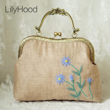 LilyHood 2017 Female Handmade Embroidery Floral Handle Bag Summer Victorian Retro Shabby Chic Burlap Jute Inspired Crossbody Bag