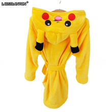 LAISIDANTON Pokemon Stitch Pikachu Boys Girls Sleepwear Pajamas Children's Bathrobes Flannel Hoodie Robes Kids Clothes Costumes