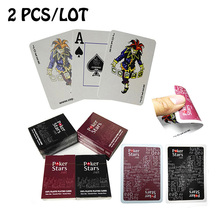 "2 PCS/LOT ""Poker Stars""  Red/Black Option Texas Holdem Poker Cards Waterproof And Dull Polish Poker With Free Shipping"