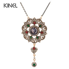 Kinel Vintage Jewelry Imitation Blue Pendant Necklace For Women Color Ancient Gold Crystal Gifts