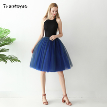 Treutoyeu 6 Layers Midi Tulle Skirts Womens Fashion TUTU Skirt Mesh Bridesmaid Wedding Lolita Petticoat Faldas Mujer Moda 2018(China)