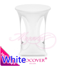White colour spandex high bar table decoration cover lycra table top cover for luxury fancy wedding cocktail table decoration