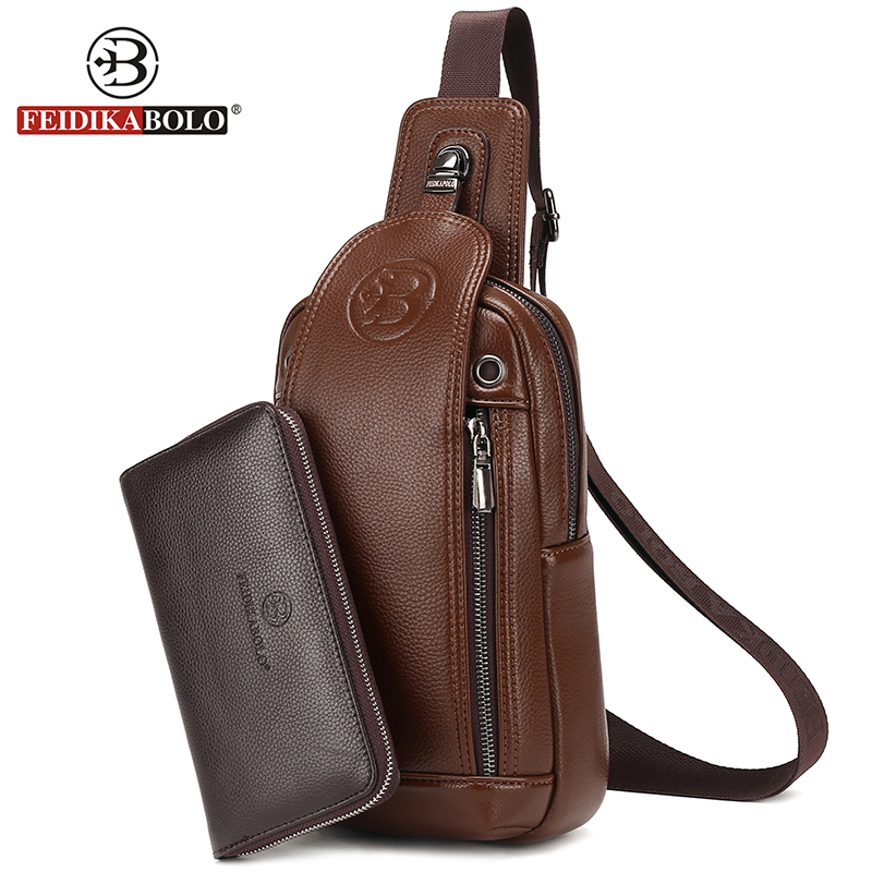 FD BOLO Brand Bag Men Chest Pack Single Shoulder Strap Back Bag Leather Travel Men Crossbody Bags Vintage Rucksack Chest Bag<br><br>Aliexpress