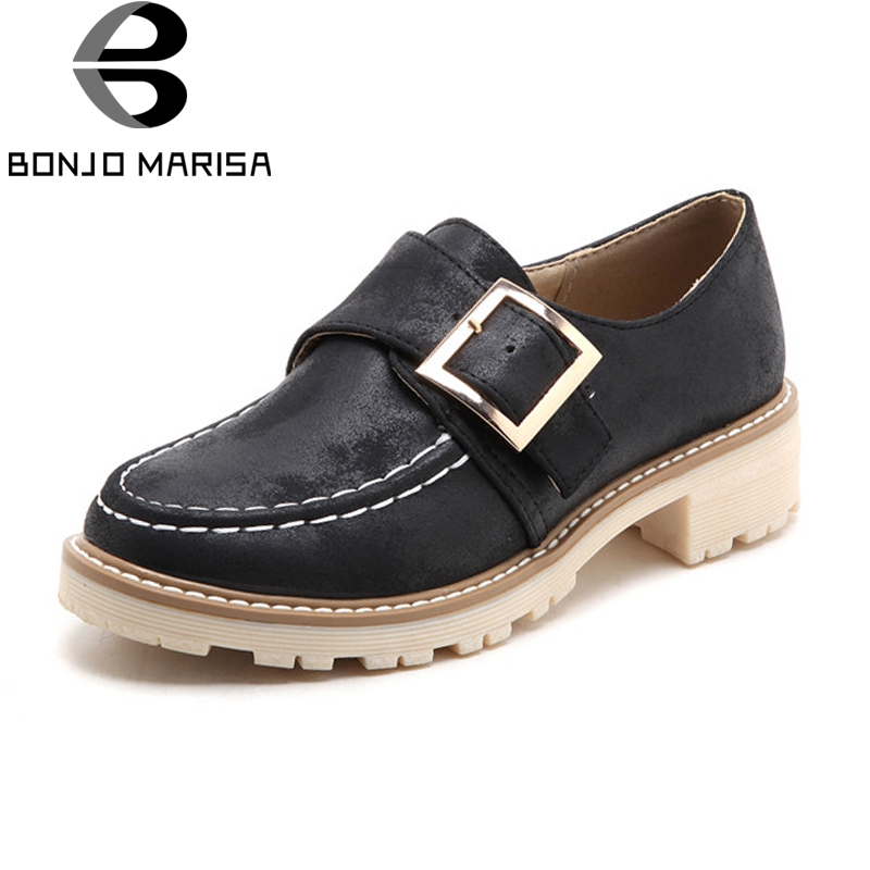 BONJOMARISA BONJOMARISA Womens Buckle Decoration Low Heel Platform Spring Autumn Shoes Woman Oxfords Big Size 34-43<br>