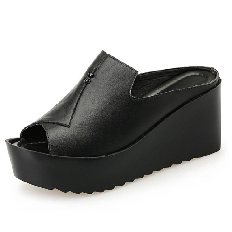Women Sandals 7.5cm Platform Wedges Womens Shoes Thick Heel Sandals Genuine Leather Summer Slide Shoes Plus Size 34-41<br>