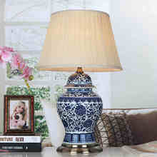 Jingdezhen Vintage style porcelain ceramic desk table lamps for bedside chinese Blue and White Porcelain table lamp bedside