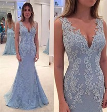 Lavender Prom Dresses Mermaid V Neck Satin And Tulle Appliques Lace Evening Party Gowns caftan Celebrity Dress abendkleider