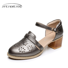 Cow leather big woman shoes US size 9 designer vintage High heels round toe handmade silver pink white beige Sandals 2017 sping