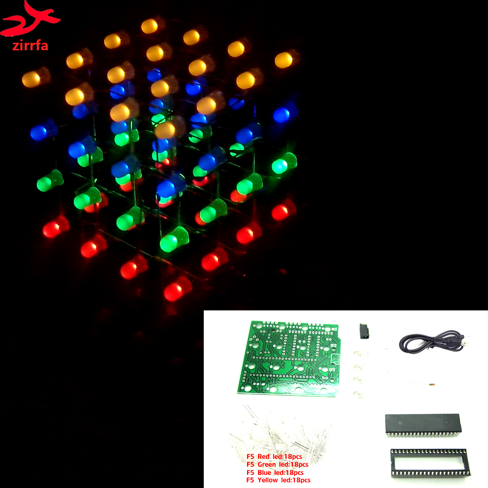 3D LED multicolor light cubeeds Electronic DIY Kit 4X4X4(China)