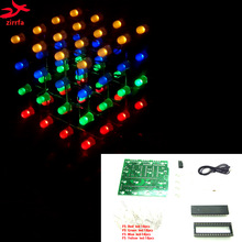 3D LED multicolor light cubeeds Electronic DIY Kit 4X4X4
