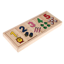 1 Set Wooden Number Counting Matching Puzzle Toy Baby Preschool Educational Learning Toys For Kids to learn 0 to 9 Concepts(China)