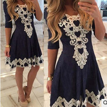 2017 Women Evening Party Dress V-Neck Half Sleeve Sexy Night Club Lace Dresses Navy Blue Plus Size vestidos femininos NQ863417