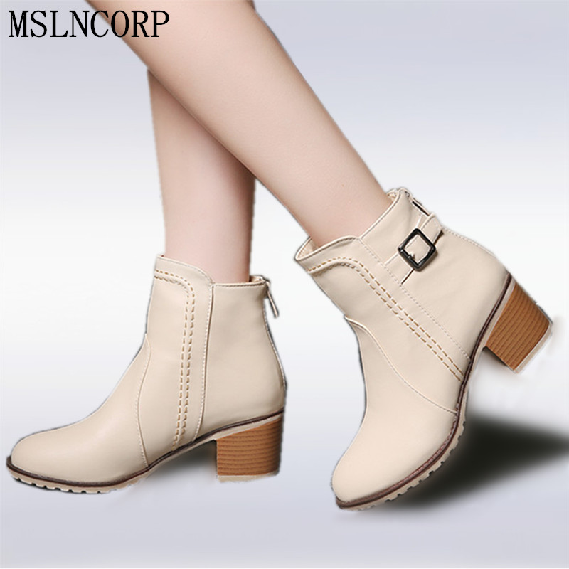 Plus Size 34-43 Autumn winter Snow boots Square high heels Shoes Casual Martin boots women Fashion zipper leather Ankle Boots<br>