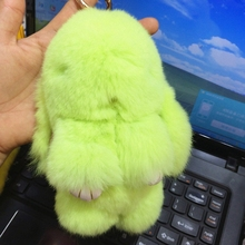 18cm Rex rabbit Furs Keychain Pendant Bag Car Charm Cute Mini Rabbit Toy Doll Real Fur Keychains Women Bag KeychainFo-K015-green