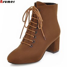 ASUMER winter new arrive women boots square heel flock lace up ladies boots black brown Army green square heel ankle boots(China)