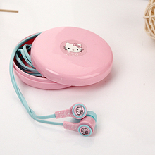Cartoon earphones hello kitty doraemon mp3 in ear earphones with storage box for iphone samsung xiaomi(China)